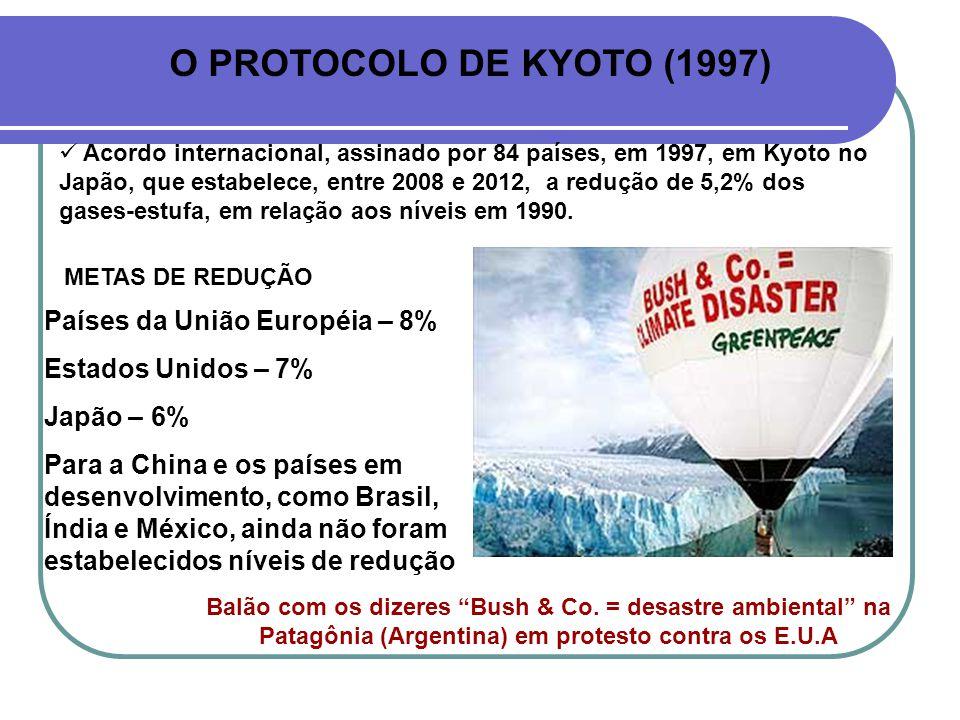 O PROTOCOLO DE KYOTO (1997) Acordo internacional, assinado por 84 países, em 1997, em Kyoto no Japão, que estabelece, entre 2008 e 2012, a redução de