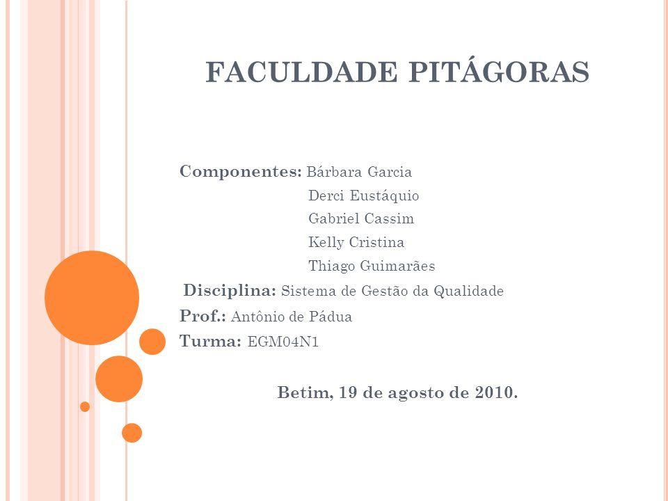 FACULDADE PITÁGORAS Componentes: Bárbara Garcia Derci Eustáquio Gabriel Cassim Kelly Cristina Thiago Guimarães Disciplina: Sistema de Gestão da Qualid
