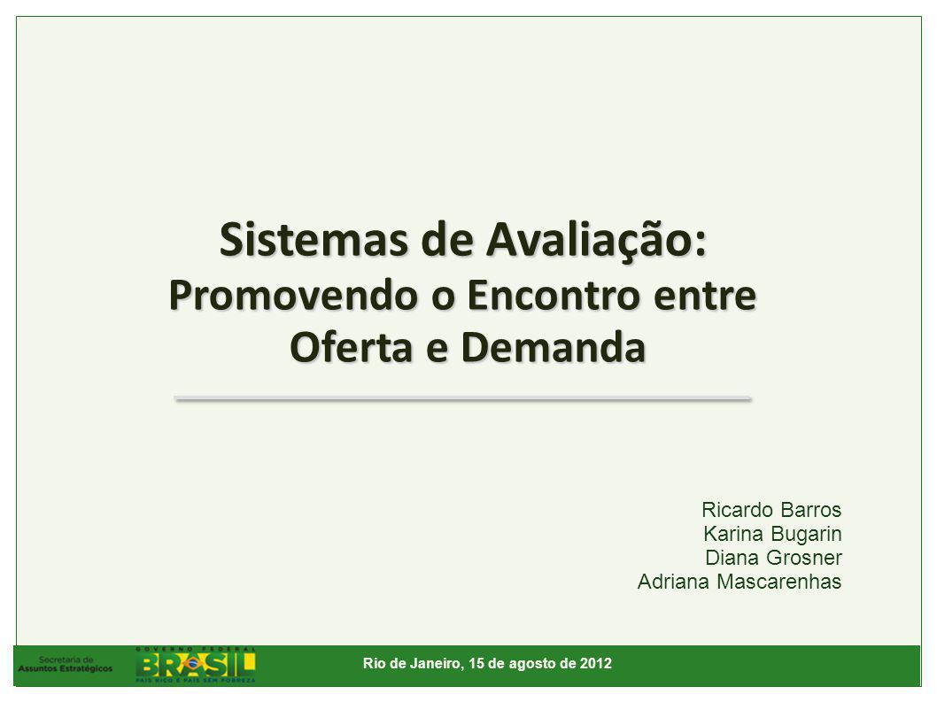 Sistemas de Avaliação: Promovendo o Encontro entre Oferta e Demanda Rio de Janeiro, 15 de agosto de 2012 Ricardo Barros Karina Bugarin Diana Grosner Adriana Mascarenhas