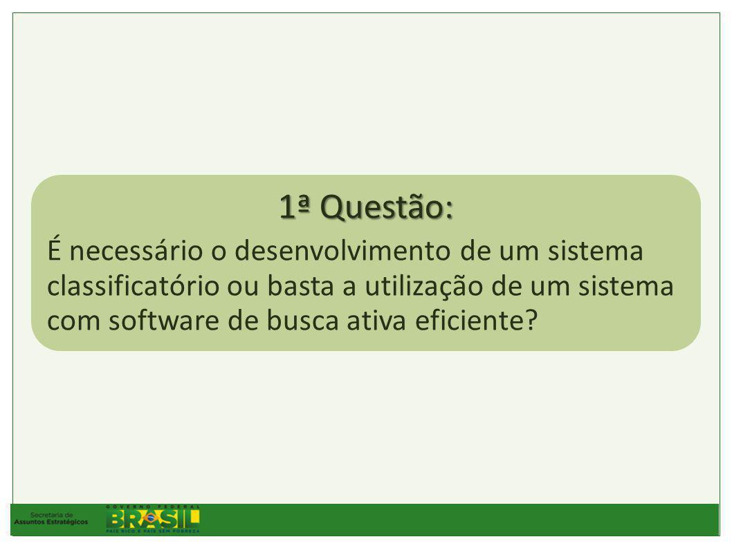 1ª Questão: É necessário o desenvolvimento de um sistema classificatório ou basta a utilização de um sistema com software de busca ativa eficiente