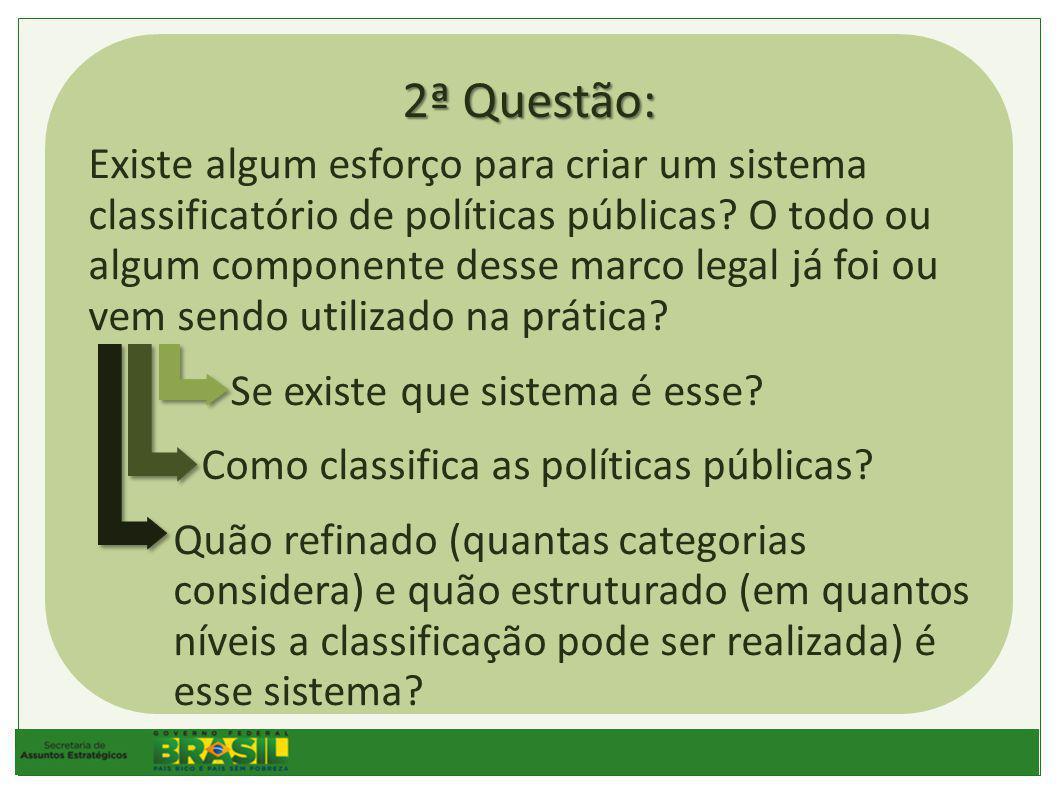 2ª Questão: Existe algum esforço para criar um sistema classificatório de políticas públicas.