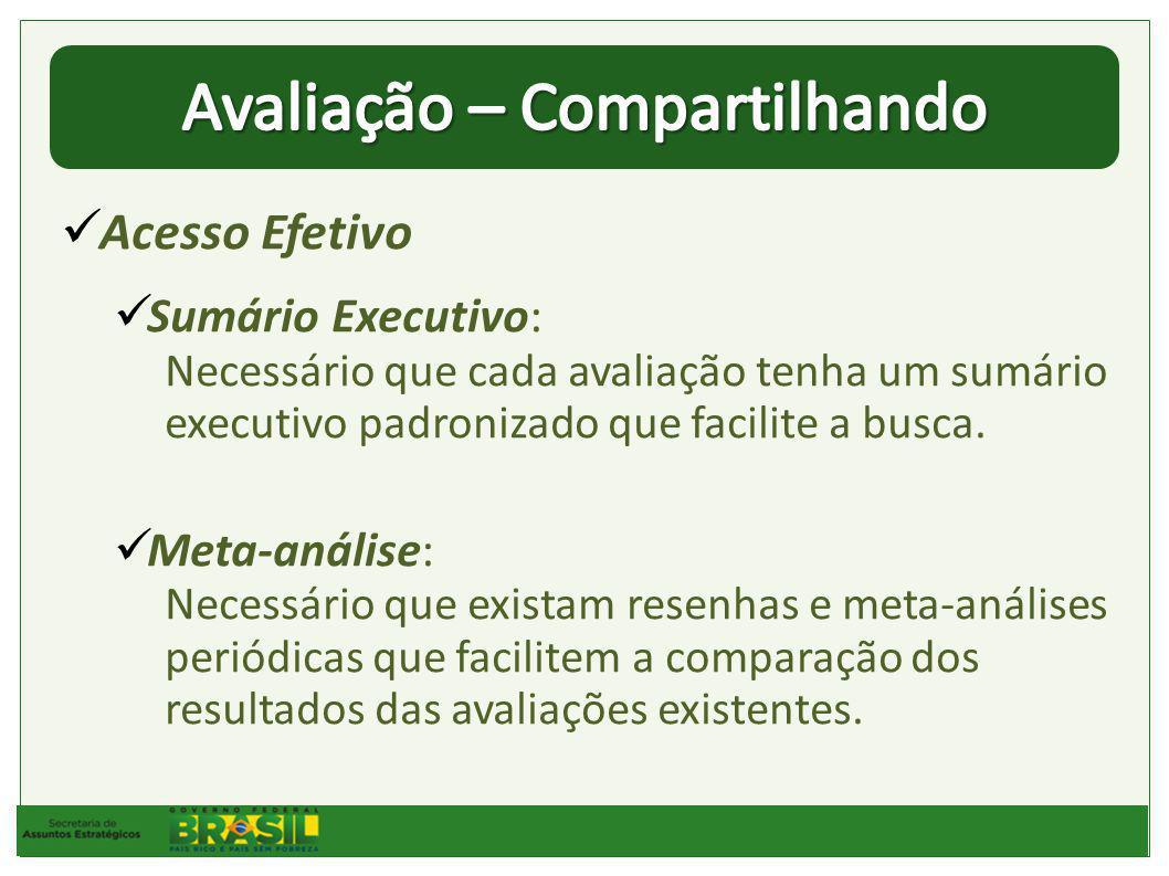 Acesso Efetivo Sumário Executivo: Necessário que cada avaliação tenha um sumário executivo padronizado que facilite a busca.