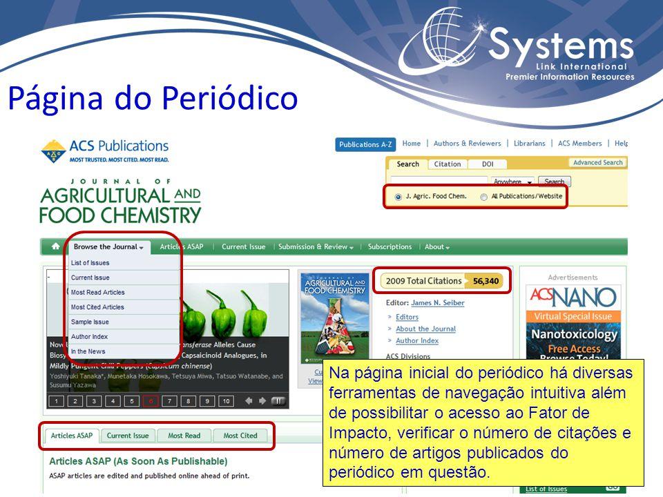 Página do Periódico Na página inicial do periódico há diversas ferramentas de navegação intuitiva além de possibilitar o acesso ao Fator de Impacto, v