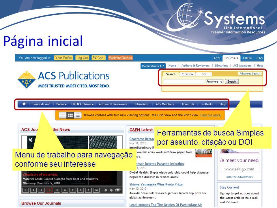 Página inicial Ferramentas de busca Simples por assunto, citação ou DOI Menu de trabalho para navegação conforme seu interesse