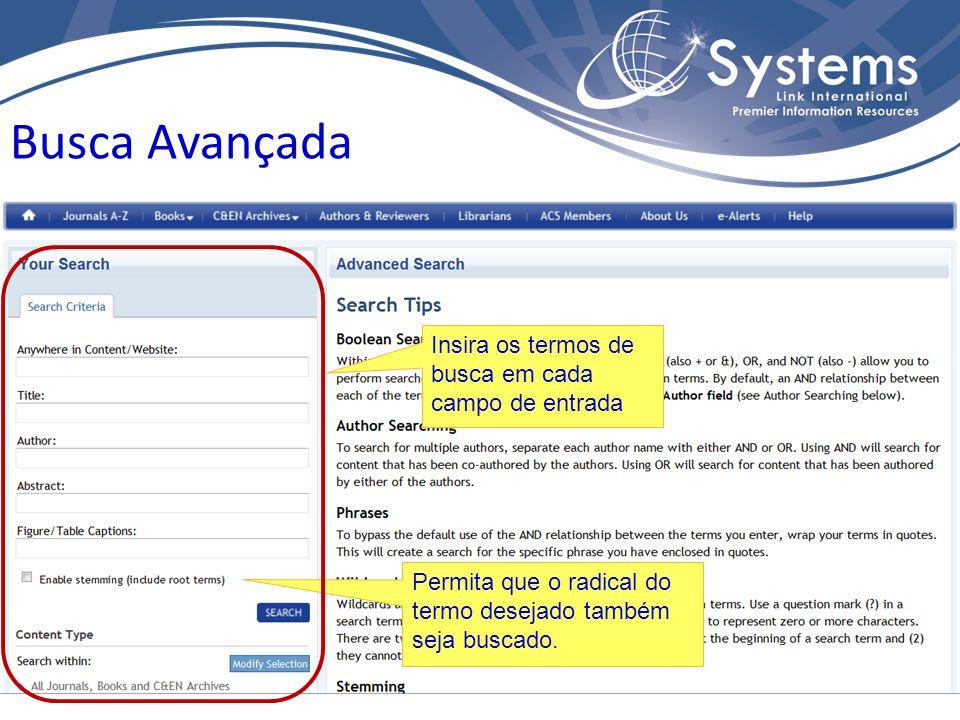 Browse Publications Na página inicial, o link Publications A-Z também permite selecionar o periódico de interesse pelo nome