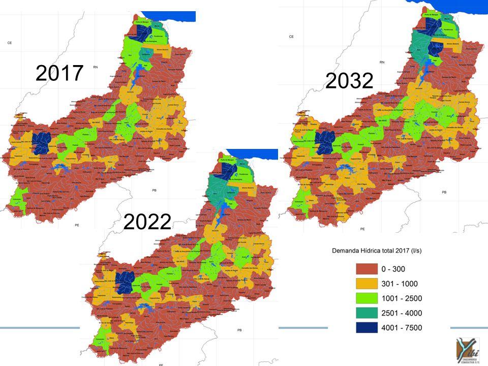 Cenário Normativo DemandaPeríodo Taxas de Crescimento UrbanaRural Abastecimento Humano 1 2010-20171,1%-0,9% 2017-20220,7%-0,6% 2022-20320,4%-0,4% Criação Animal2012-20324,6% 2 Indústria2012-20323,6% 3 Irrigação2012-20323,4% 4 Aquicultura2012-2032Estável Outros Usos2012-2032Estável 1 - Projeção populacional pela metodologia adotada pelo IBGE; 2 - IBGE – Pesquisa Pecuária Municipal; 3 - IBGE – Pesquisa Industrial Anual – Empresa; 4 - IBGE – Evolução área colhida na bacia.