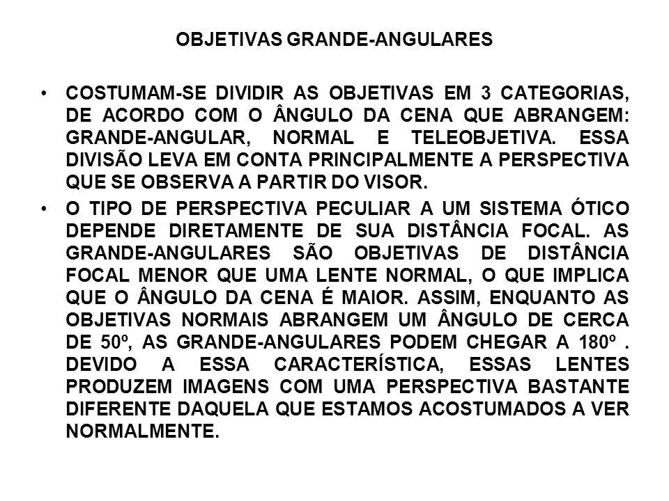 OBJETIVAS GRANDE-ANGULARES COSTUMAM-SE DIVIDIR AS OBJETIVAS EM 3 CATEGORIAS, DE ACORDO COM O ÂNGULO DA CENA QUE ABRANGEM: GRANDE-ANGULAR, NORMAL E TEL