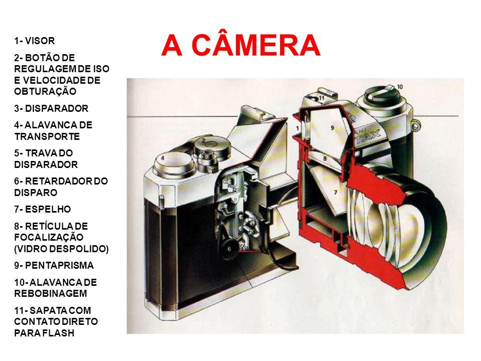 CÂMERA MONO REFLEX (SLR) 1- OBJETIVA 2- ESPELHO MÓVEL 45º 3- FILME 4- PENTAPRISMA 5- VISOR