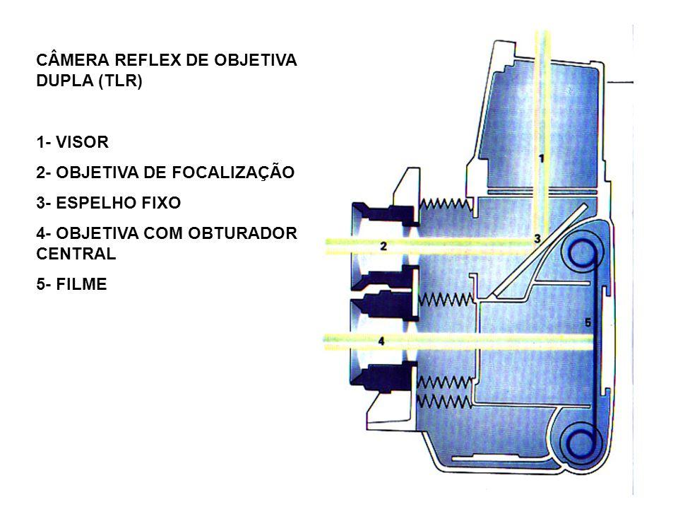 CÂMERA REFLEX DE OBJETIVA DUPLA (TLR) 1- VISOR 2- OBJETIVA DE FOCALIZAÇÃO 3- ESPELHO FIXO 4- OBJETIVA COM OBTURADOR CENTRAL 5- FILME