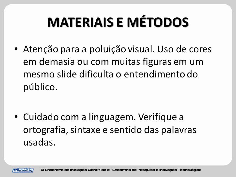 MATERIAIS E MÉTODOS Atenção para a poluição visual.