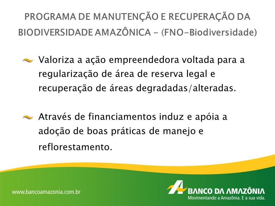 Valoriza a ação empreendedora voltada para a regularização de área de reserva legal e recuperação de áreas degradadas/alteradas. Através de financiame
