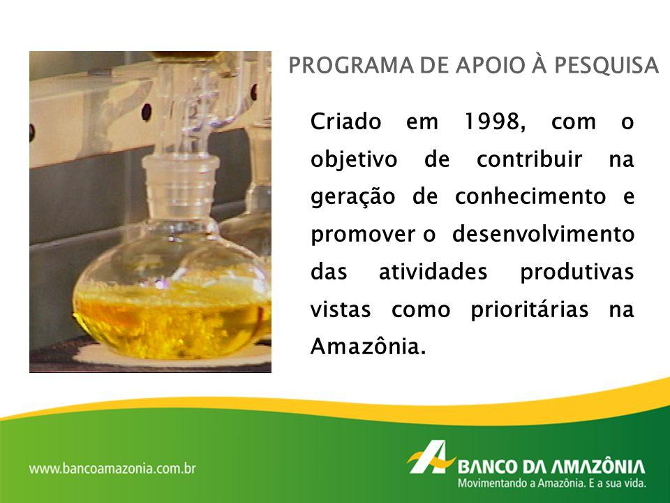 PROGRAMA DE APOIO À PESQUISA Criado em 1998, com o objetivo de contribuir na geração de conhecimento e promover o desenvolvimento das atividades produ