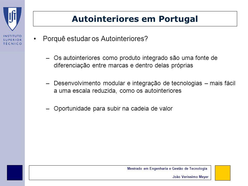 Mestrado em Engenharia e Gestão de Tecnologia João Veríssimo Meyer Autointeriores em Portugal Dimensão média reduzida Capacidade de desenvolvimento tecnológico limitada Foco no processo Capacidade diminuta de produção de módulos, que exige a combinação e integração de diversas tecnologias
