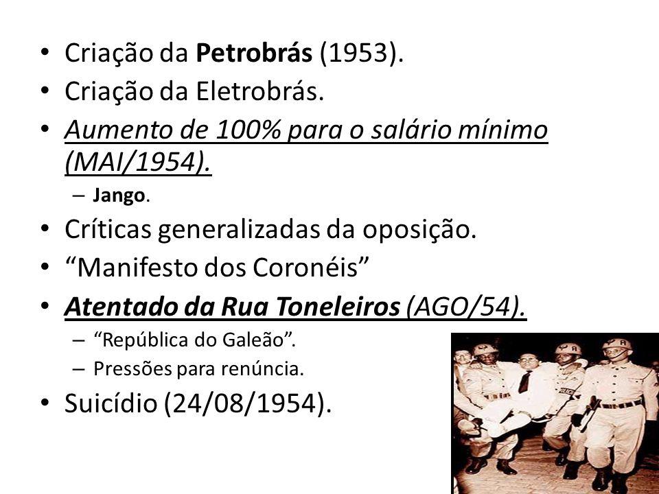 """Criação da Petrobrás (1953). Criação da Eletrobrás. Aumento de 100% para o salário mínimo (MAI/1954). – Jango. Críticas generalizadas da oposição. """"Ma"""
