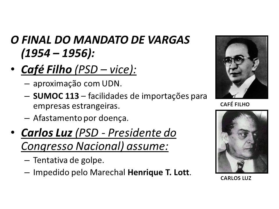 O FINAL DO MANDATO DE VARGAS (1954 – 1956): Café Filho (PSD – vice): – aproximação com UDN. – SUMOC 113 – facilidades de importações para empresas est