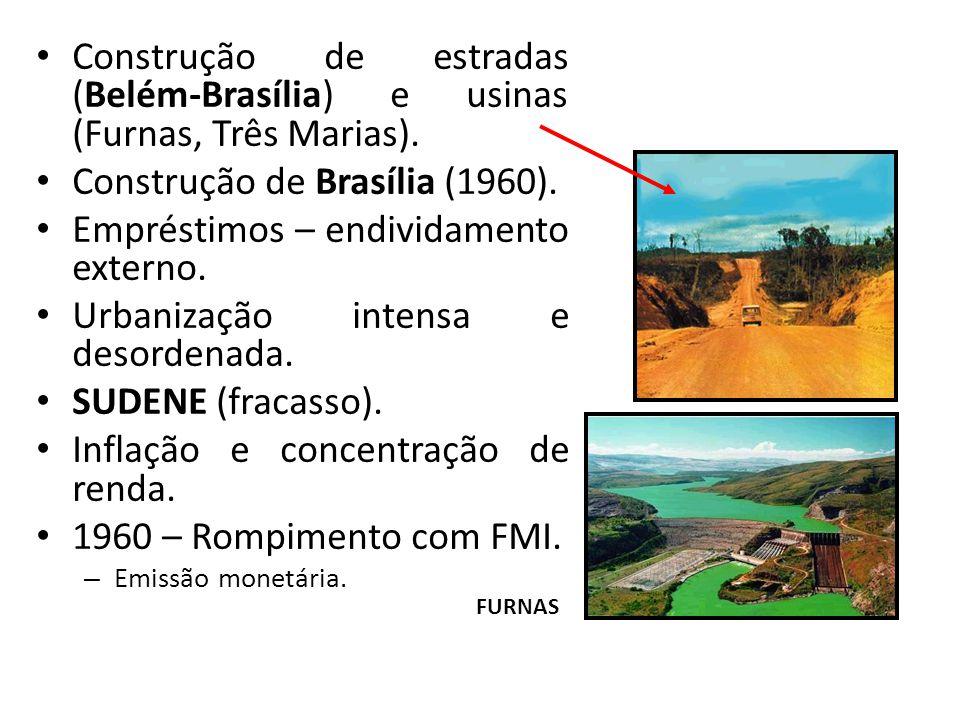 Construção de estradas (Belém-Brasília) e usinas (Furnas, Três Marias). Construção de Brasília (1960). Empréstimos – endividamento externo. Urbanizaçã
