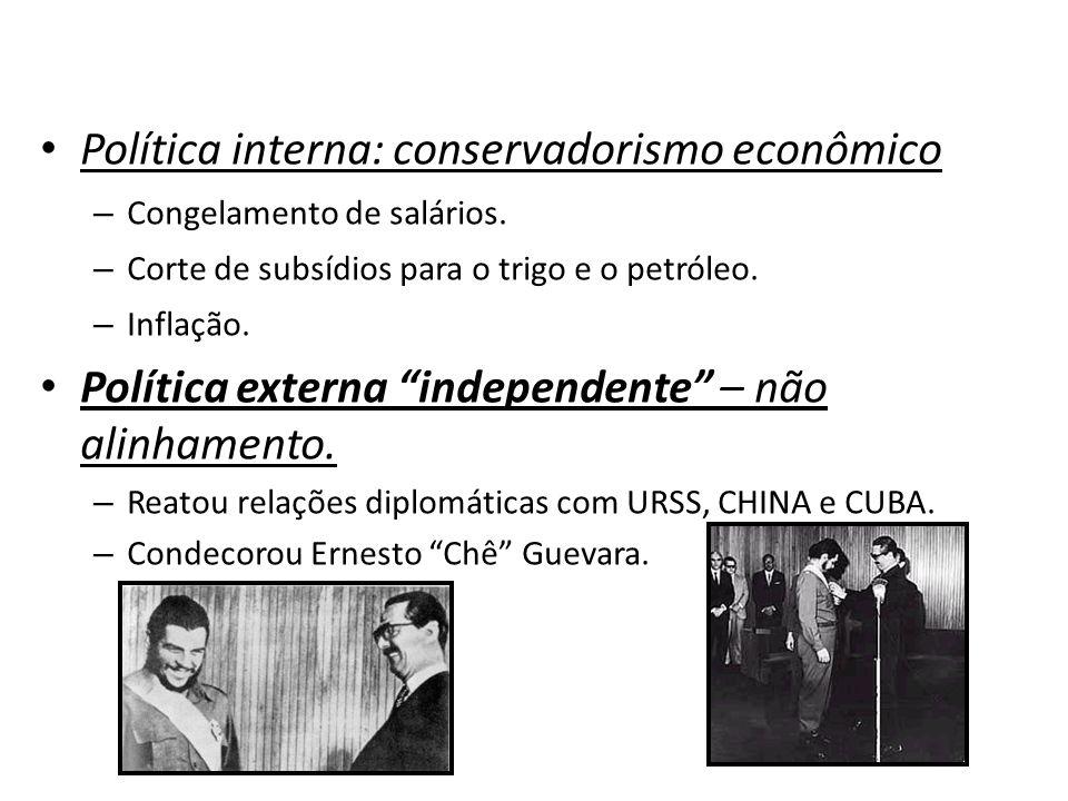 """Política interna: conservadorismo econômico – Congelamento de salários. – Corte de subsídios para o trigo e o petróleo. – Inflação. Política externa """""""