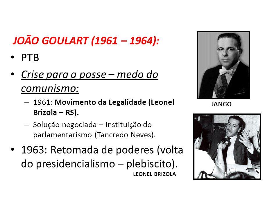 JOÃO GOULART (1961 – 1964): PTB Crise para a posse – medo do comunismo: – 1961: Movimento da Legalidade (Leonel Brizola – RS). – Solução negociada – i
