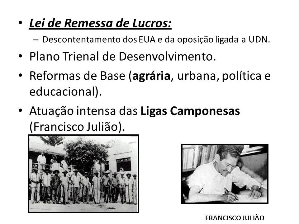 Lei de Remessa de Lucros: – Descontentamento dos EUA e da oposição ligada a UDN. Plano Trienal de Desenvolvimento. Reformas de Base (agrária, urbana,