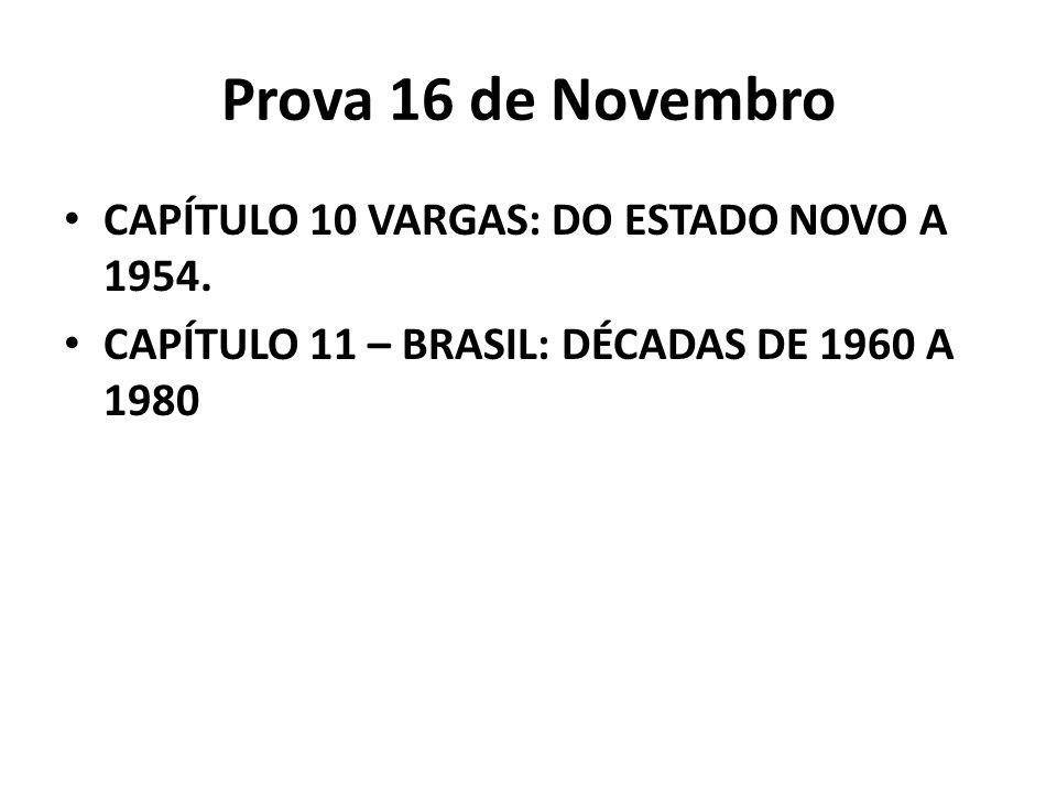 Prova 16 de Novembro CAPÍTULO 10 VARGAS: DO ESTADO NOVO A 1954. CAPÍTULO 11 – BRASIL: DÉCADAS DE 1960 A 1980