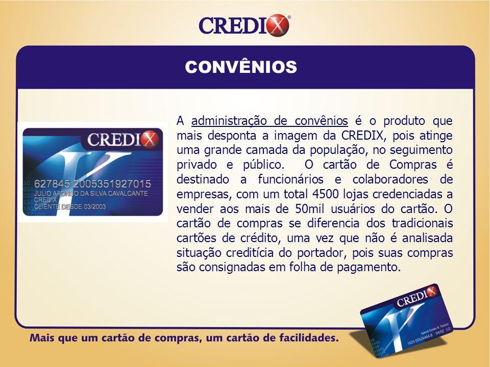 Convênios e Variações Private Label Private Label: Cartão destinado as atividades comerciais de uma Empresa, caracteriza-se como um cartão de lastro que a Empresa disponibiliza ao mercado (com a sua cara) com a BANDEIRA CREDIX.