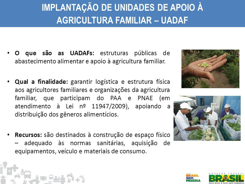 IMPLANTAÇÃO DE UNIDADES DE APOIO À AGRICULTURA FAMILIAR – UADAF O que são as UADAFs: estruturas públicas de abastecimento alimentar e apoio à agricult
