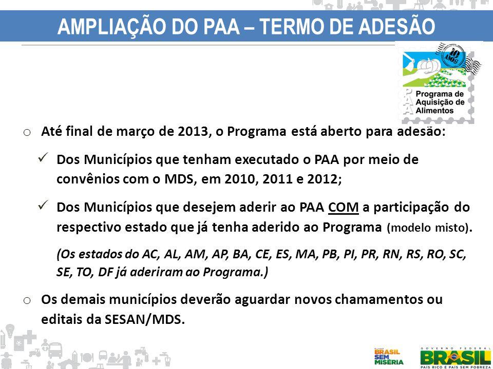 AMPLIAÇÃO DO PAA – TERMO DE ADESÃO o Até final de março de 2013, o Programa está aberto para adesão: Dos Municípios que tenham executado o PAA por mei