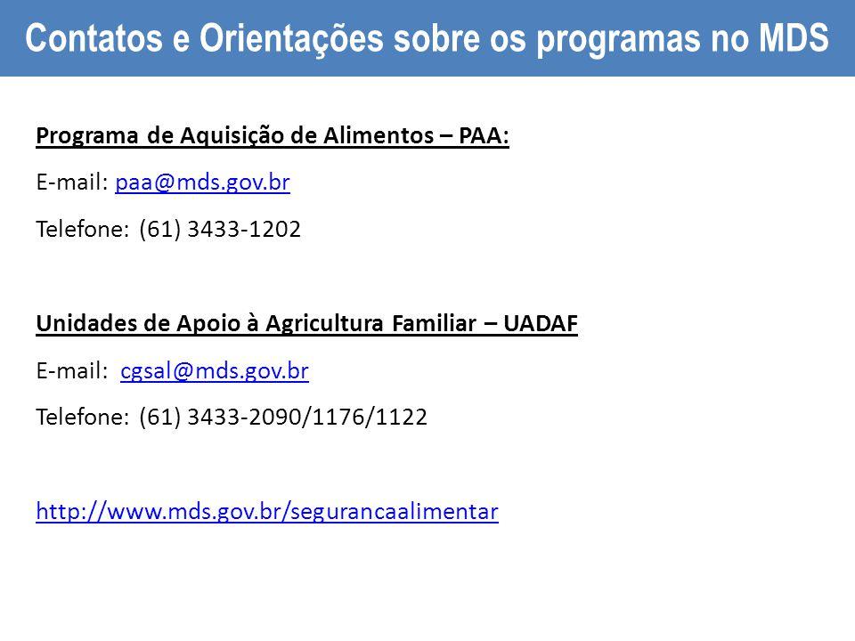 PAA Compra Institucional Programa de Aquisição de Alimentos – PAA: E-mail: paa@mds.gov.brpaa@mds.gov.br Telefone: (61) 3433-1202 Unidades de Apoio à A