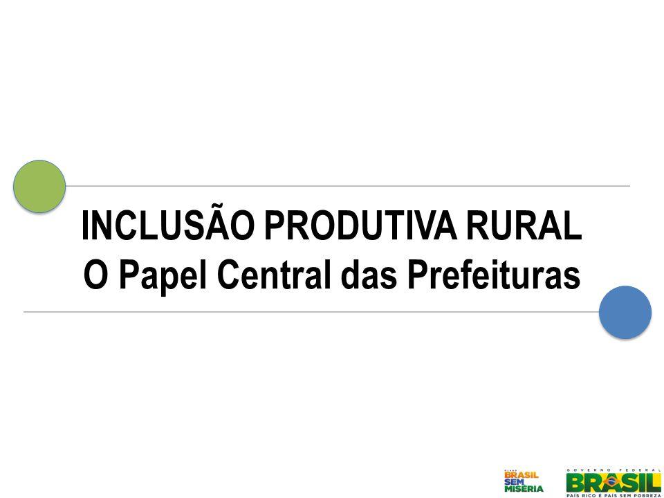 Inclusão Produtiva Rural Mapa da Articulação com as Prefeituras Programa Nacional de Alimentação Escolar – PNAE Unidades de Apoio a Agricultura Familiar – UADAF Programa de Aquisição e Alimentos – PAA