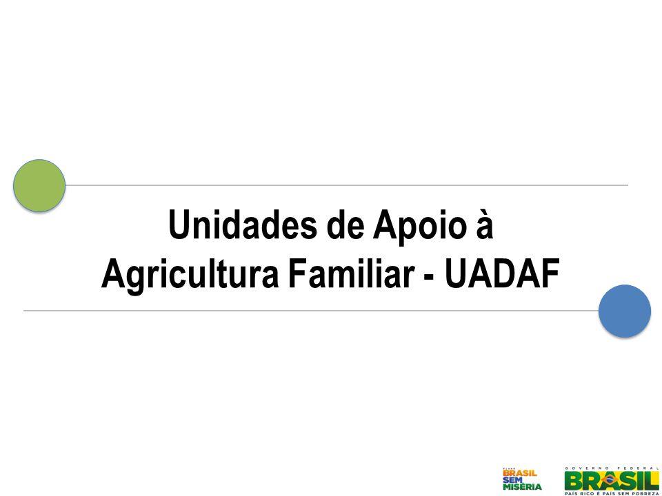 IMPLANTAÇÃO DE UNIDADES DE APOIO À AGRICULTURA FAMILIAR – UADAF O que são as UADAFs: estruturas públicas de abastecimento alimentar e apoio à agricultura familiar.