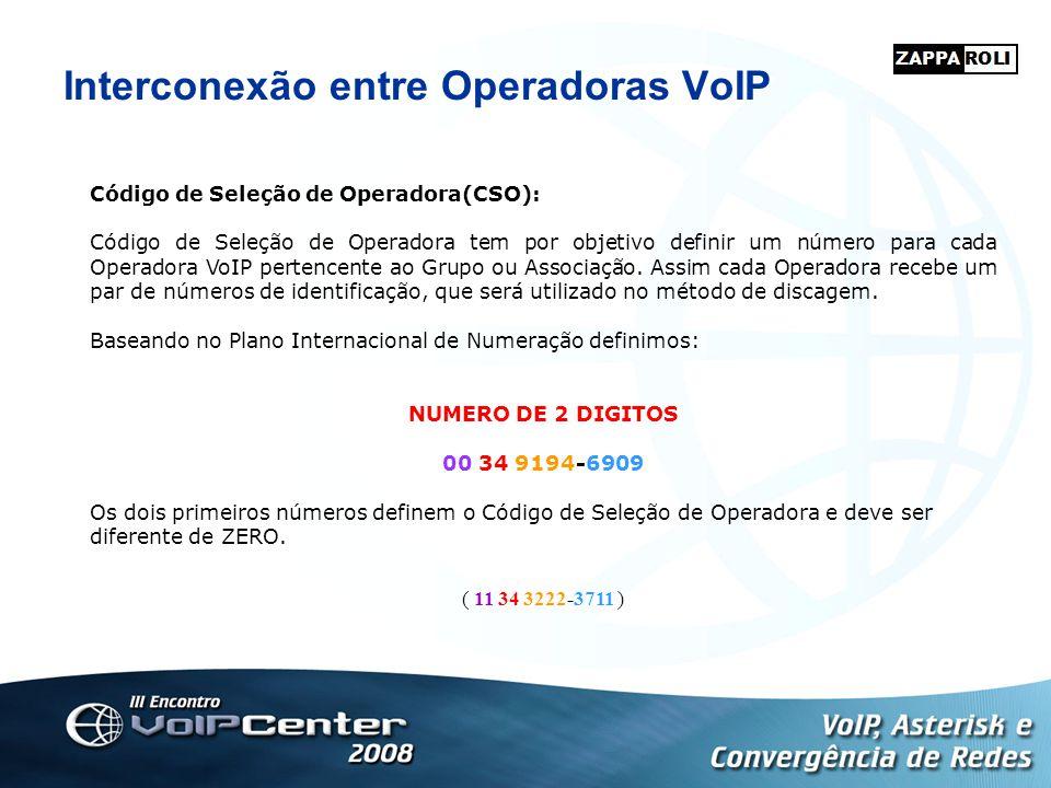 Interconexão entre Operadoras VoIP Código de Seleção de Operadora(CSO): Código de Seleção de Operadora tem por objetivo definir um número para cada Op