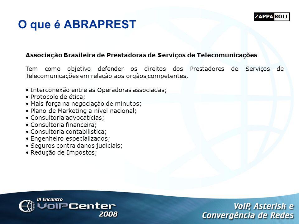 O que é ABRAPREST Associação Brasileira de Prestadoras de Serviços de Telecomunicações Tem como objetivo defender os direitos dos Prestadores de Servi