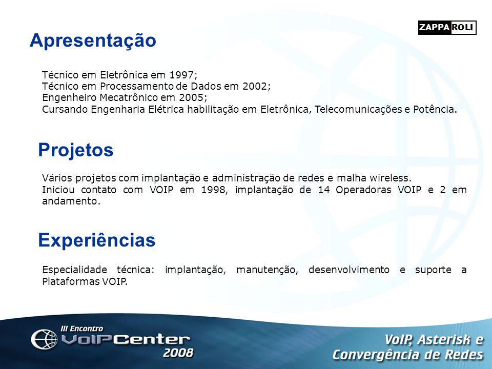Apresentação Técnico em Eletrônica em 1997; Técnico em Processamento de Dados em 2002; Engenheiro Mecatrônico em 2005; Cursando Engenharia Elétrica ha