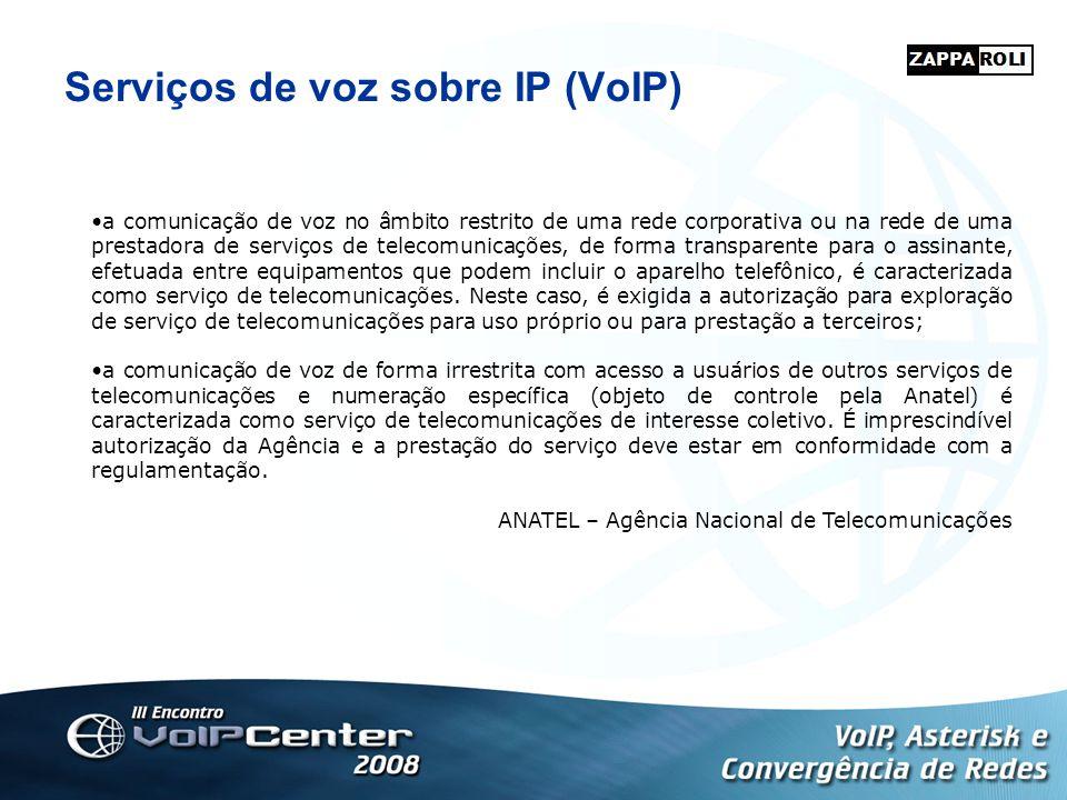 Serviços de voz sobre IP (VoIP) a comunicação de voz no âmbito restrito de uma rede corporativa ou na rede de uma prestadora de serviços de telecomuni