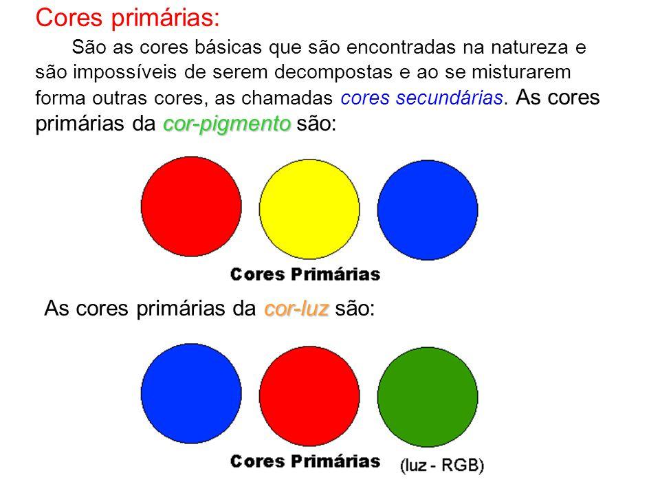 Cores primárias: cor-pigmento São as cores básicas que são encontradas na natureza e são impossíveis de serem decompostas e ao se misturarem forma outras cores, as chamadas cores secundárias.