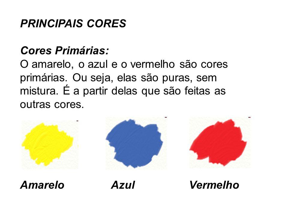 Cores secundárias: O verde, o laranja e o roxo são cores secundárias.