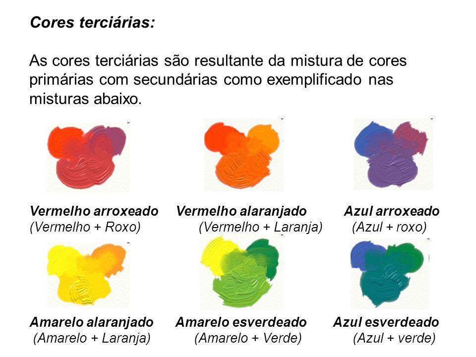Cores terciárias: As cores terciárias são resultante da mistura de cores primárias com secundárias como exemplificado nas misturas abaixo.
