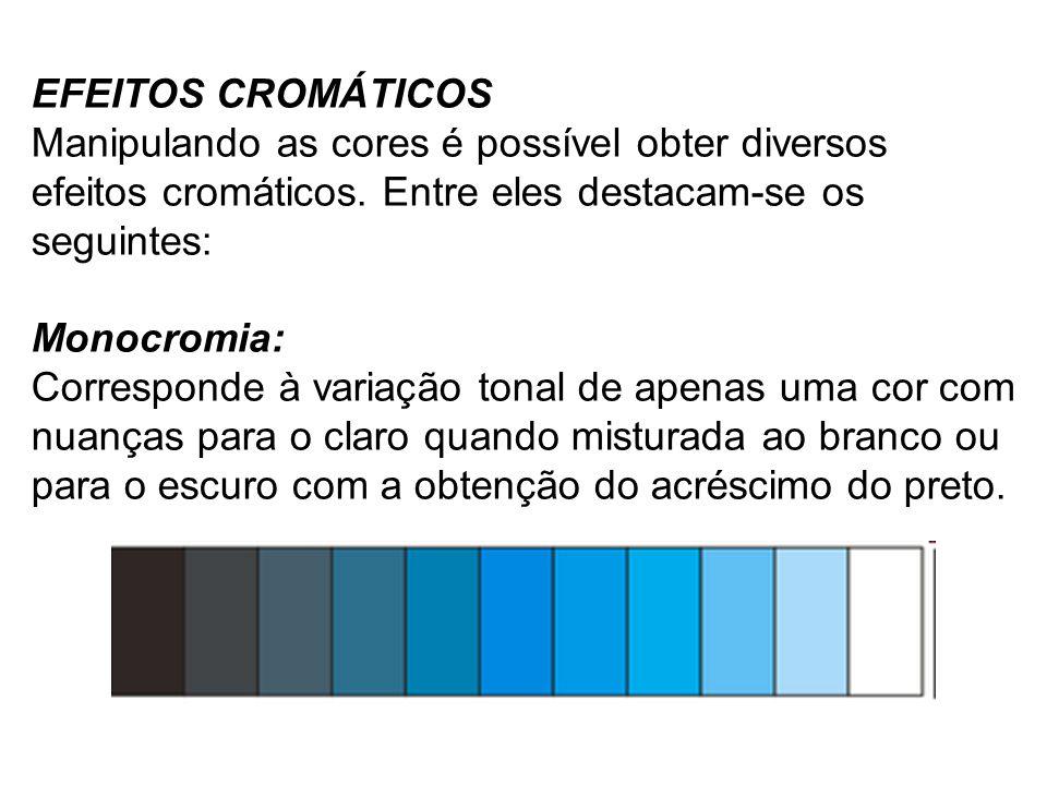 EFEITOS CROMÁTICOS Manipulando as cores é possível obter diversos efeitos cromáticos.