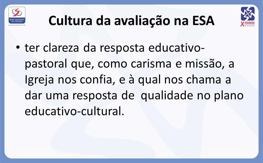 Cultura da avaliação na ESA ter clareza da resposta educativo- pastoral que, como carisma e missão, a Igreja nos confia, e à qual nos chama a dar uma