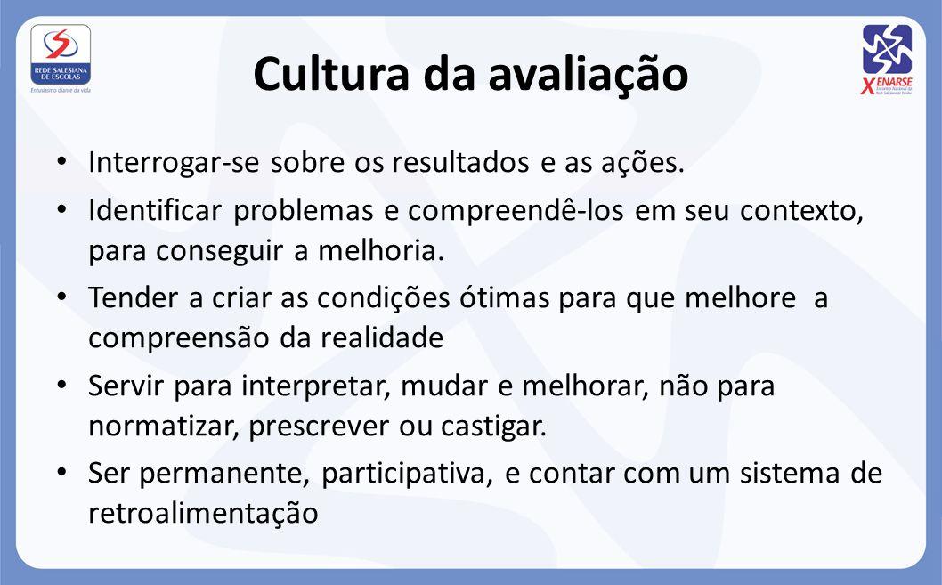 Cultura da avaliação Interrogar-se sobre os resultados e as ações. Identificar problemas e compreendê-los em seu contexto, para conseguir a melhoria.
