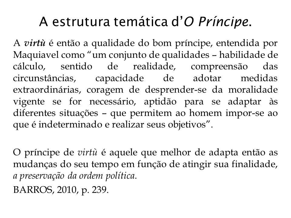 """A estrutura temática d'O Príncipe. A virtù é então a qualidade do bom príncipe, entendida por Maquiavel como """"um conjunto de qualidades – habilidade d"""