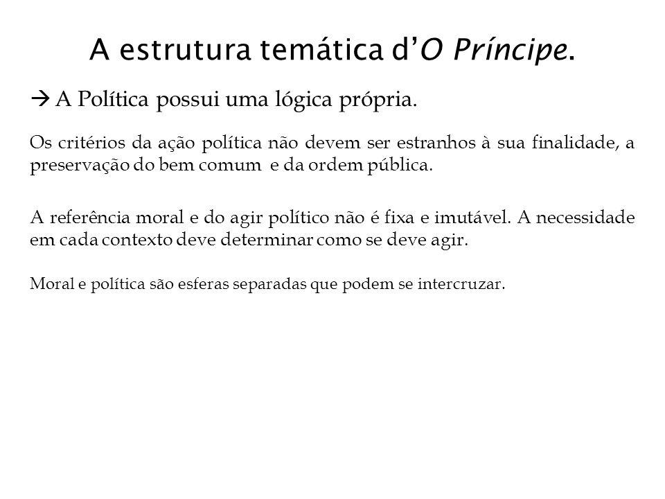 A estrutura temática d'O Príncipe.  A Política possui uma lógica própria. Os critérios da ação política não devem ser estranhos à sua finalidade, a p