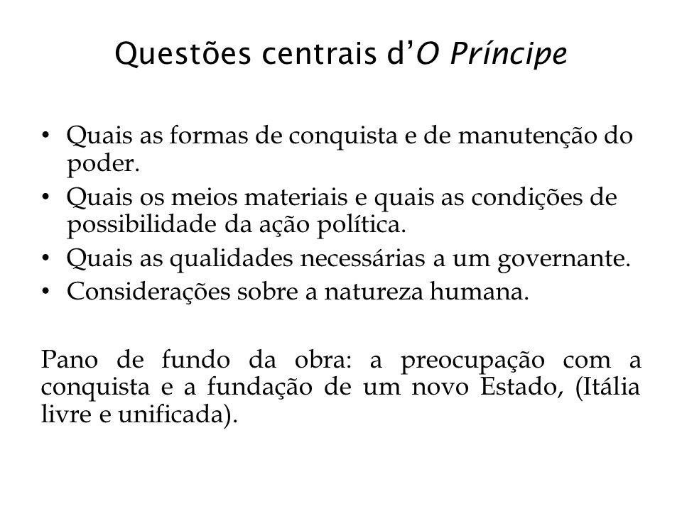 Questões centrais d'O Príncipe Quais as formas de conquista e de manutenção do poder. Quais os meios materiais e quais as condições de possibilidade d