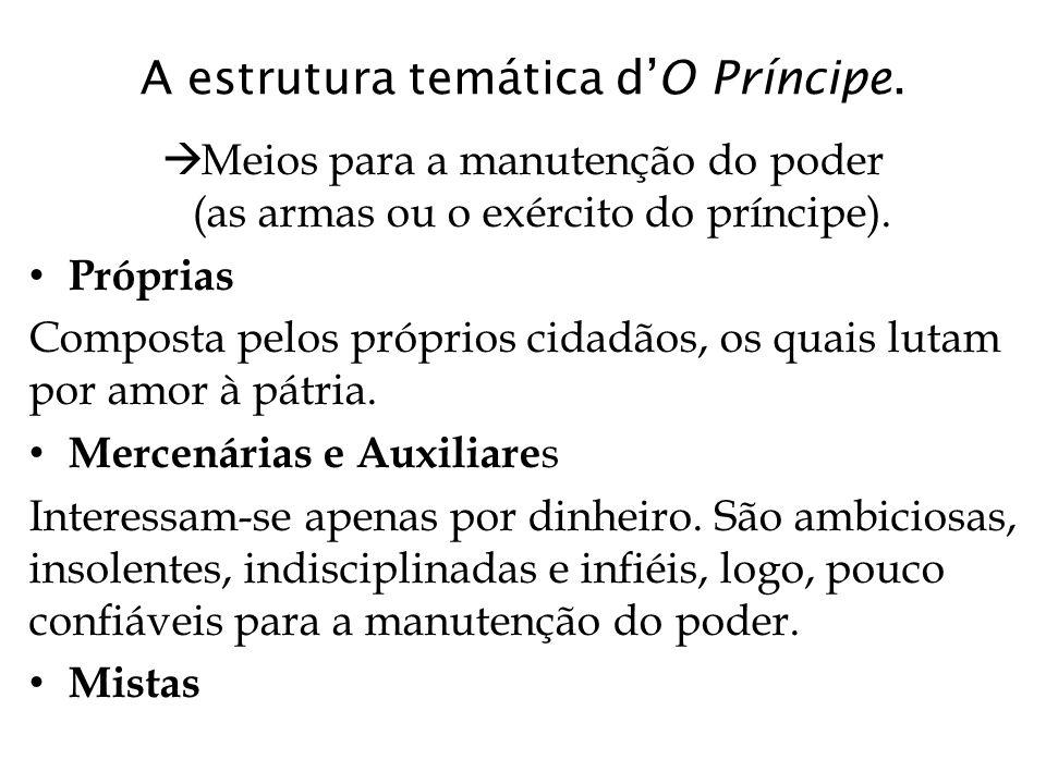 A estrutura temática d'O Príncipe.  Meios para a manutenção do poder (as armas ou o exército do príncipe). Próprias Composta pelos próprios cidadãos,