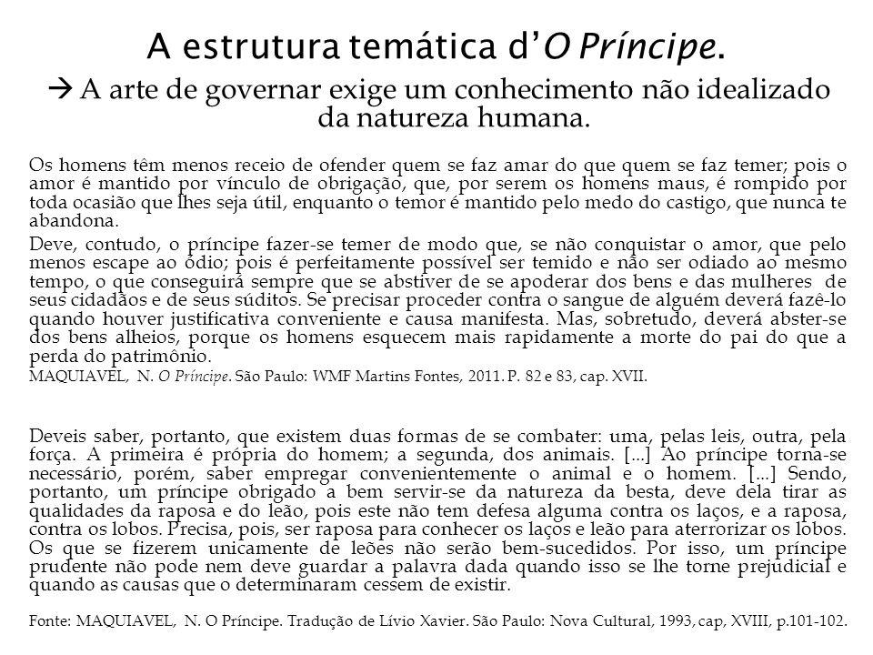 A estrutura temática d'O Príncipe.  A arte de governar exige um conhecimento não idealizado da natureza humana. Os homens têm menos receio de ofender