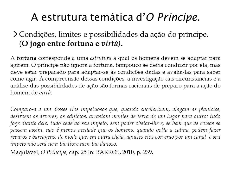 A estrutura temática d'O Príncipe.  Condições, limites e possibilidades da ação do príncipe. ( O jogo entre fortuna e virtù). A fortuna corresponde a