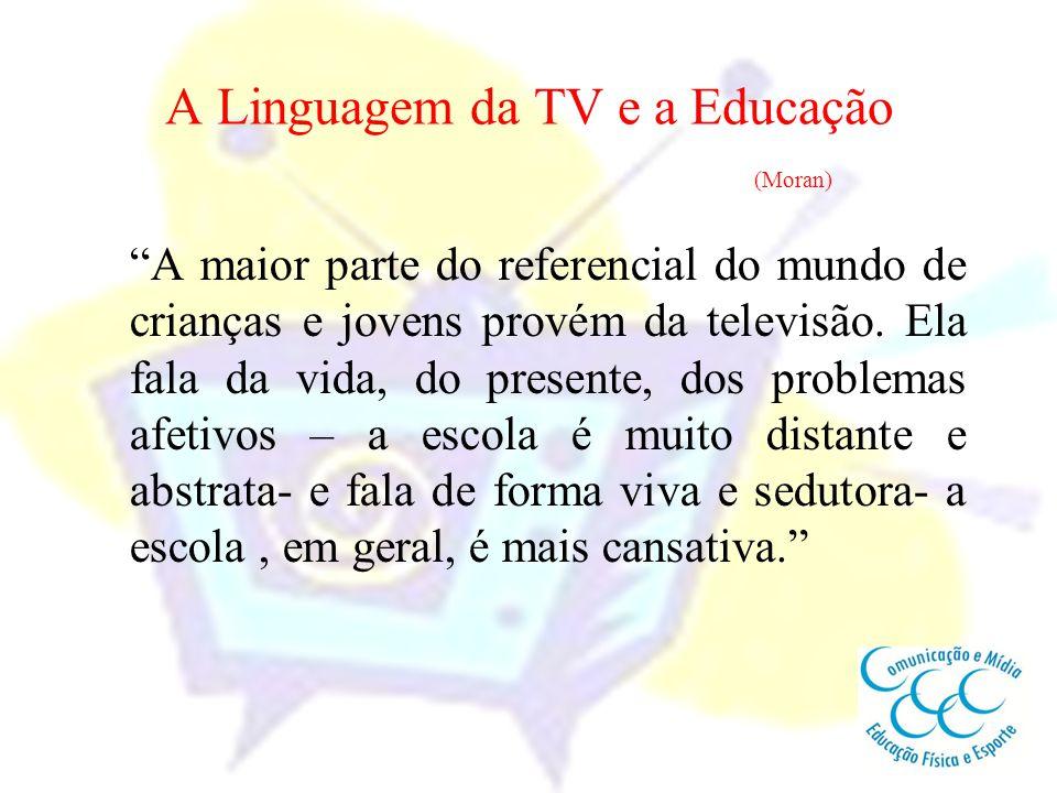 """A Linguagem da TV e a Educação (Moran) """"A maior parte do referencial do mundo de crianças e jovens provém da televisão. Ela fala da vida, do presente,"""