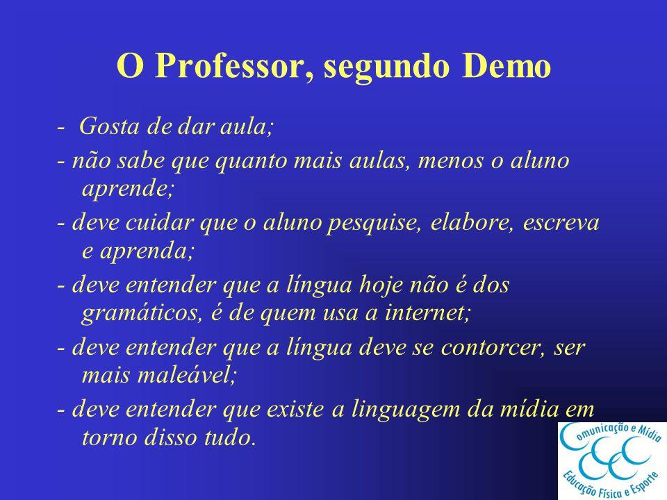 O Professor, segundo Demo - Gosta de dar aula; - não sabe que quanto mais aulas, menos o aluno aprende; - deve cuidar que o aluno pesquise, elabore, e