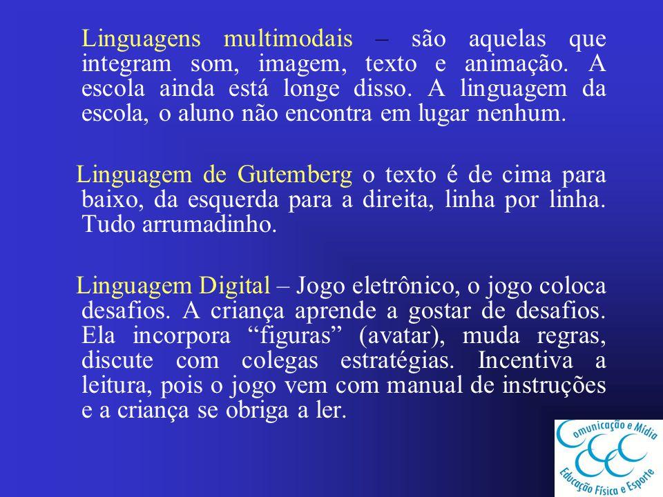 Linguagens multimodais – são aquelas que integram som, imagem, texto e animação. A escola ainda está longe disso. A linguagem da escola, o aluno não e