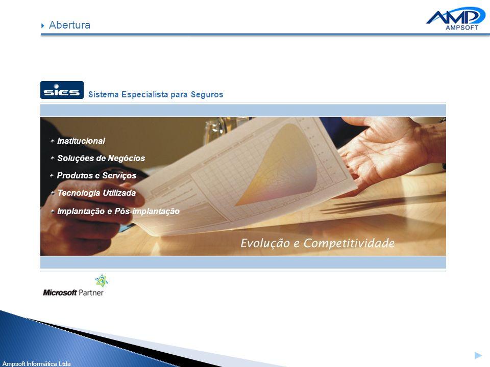 Ampsoft Informática Ltda Institucional Soluções de Negócios Produtos e Serviços Tecnologia Utilizada Implantação e Pós-implantação Abertura Sistema Es